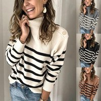 Women's Sweaters Women Striped Turtleneck Autumn Winter Fashion Knitted Casual Warm Oversized Black White