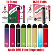 ORIGINALE ACKIT OMI PLUS E-sigarette dispositivo E-sigarette 1600Puffs 800mAh Batteria 5.3ml Cartridge Preriellato POD POD Stick Penna VS Air Bar Max Lux Flex 100% Autentico