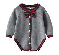 Baby Bodysuits Kleidung Herbst Beiläufige graue gestrickte Neugeborene Infant Overalls für Kleinkind Jungen Mädchen Onesie Winter Kinder Outfits