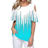 Sommer Frauen T-shirts Große Größen außerhalb der Schulter Oansatz Übergroße T-Shirts Kurzarm Lässig T-Shirt 4XL 5XL Damen