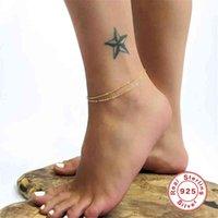 GS 925 Sterling Silver Gold Bohemian Trendy Tenchlets Barefoot Gochet Sandals Joyería de pie Pulseras de tobillo para las mujeres Cadena de piernas