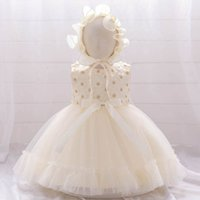 Girls Dresses 1st Birthday Dress For Baby Girl Princess Kids Clothes Lace Flower Clothing Hats 2Pcs Sets Party Formal Pettiskirt B7252