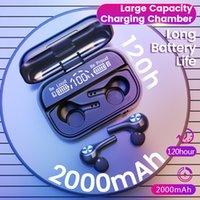 No ouvido bluetooth v5.2 hifi steoro fones de ouvido sem fio esportivos música handsfree fones de ouvido 2000mAh banco de potência mais tempo de espera tem função de luz led display