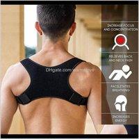 Neopren-Haltung Korrektor Black Back Shoulder Brace Gürtel für Männer Frauen Sports Sicherheit Unterstützung ZZA1198 OQHUV C4KRW