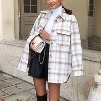 ZXQJ Vintage Frauen Weiche Tweed-Hemden Herbst-Winter-Mode-Damen-elegante lose Blusen Streetwear-Mädchen Übergröße Outwear 201201