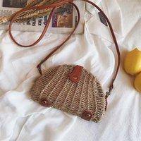 Casual Shell Rattan Crossbody Bag para Mulheres Vintage Vime Tecido Tecido do Ombro Senhora Palha Senhora Pequena Bali Bolsas 2021 sacos