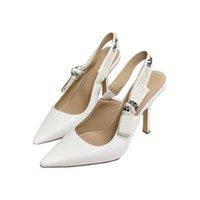 أزياء عالية الكعب الصنادل كعب جلد طبيعي امرأة الأحذية مع القوس الأطراف اللباس حذاء عالية الكعب عودة حزام مثير سيدة صندل حجم 34-40