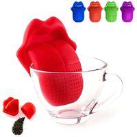 الإبداعية لسان كبير شكل الشاي مصفاة أكياس الغذاء الصف سيليكون لطيف الشفاه الشاي infuser مصافي فضفاضة ورقة الشاي infuser تصفية حقيبة OWE8133