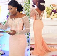 2021 Plus Size Arabic Aso Ebi Mermaid Sequined Sparkly Prom Dresses Beaded Crystals Sheer Neck Evening Formal Party Second Reception Gowns Dress ZJ775