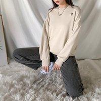 Damen Hoodies Sweatshirts Geometrische Stickerei Solide Farbe Einfache Marke Design Sweatshirt Frauen Langarm Lässige Mode Kleidung Englaus