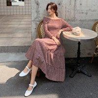 Повседневные платья llzacoosh 2021 поступление Autunmn женщин пляж напечатанный шифон с длинным рукавом стройное упругие верхние тела