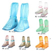 Kids Children PVC Reusable Rain Shoes Boot Cover Anti-Slip Waterproof Overshoes Outdoor Travel Waterproof Rain Boots Set AHE7257