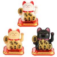 الكائنات الزخرفية التماثيل الطاقة الشمسية Maneki Neko Neko Lucky Cat أسود / أبيض ترحيب Hands الصيني للمنزل سيارة المطعم
