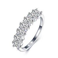 Cluster Anéis Anziw Fileira Oval Broca Sona Simulado Diamante Bandas Aniversário Noivado Casamento Anel para Mulheres Jóias