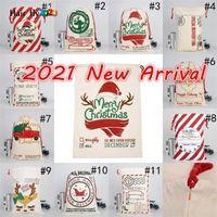 DHL 무료 새로운 2021 크리스마스 산타 자루 캔버스 코튼 가방 큰 무거운 Drawstring 선물 가방 맞춤식 축제 파티 크리스마스 장식 HS13