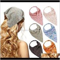 Schmuck Drop Lieferung 2021 Vintage Blume Print Bandana Stirnbänder für Frauen Mädchen Elastisches Haarband Turban Bands Haarschmuck Scrunchies H