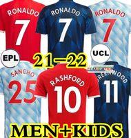 21 22 Sancho Rashford Soccer Jerseys 2021 2022 맨체스터 Pogba Cavani Varane Shaw B. Fernandes Ronaldo United Greenwood UTD 축구 셔츠 남성 + 키트 키트