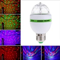 Effects 1Pcs 3W 4W 6W RGB LED Lamp E27 AC 110V - 220V Auto Rotating Stage Lights Magic Ball Bulb For Home DJ Party Dance Decoration