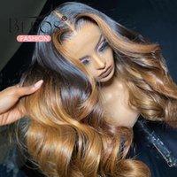 تسليط الضوء على أومبير ملون الجسم موجة 13 * 6 الرباط الجبهة شعر الإنسان الباروكات البرازيلي ريمي 180٪ قبل التقطه العسل شقراء