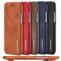Custodie per cellulari Casi di lusso Case in pelle sottile Cover flip per iPhone 12 Mini 11 Pro XS Max XR 8 7 6S PLUS SE 2020 Folio Stand Magnetic Celet Slot