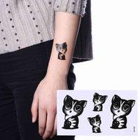 Nouveau 1 feuille d'autocollant de tatouage temporaire étanche Poitron mignon Cat Tatto Stickers Flash Tatoo Faux tatouages pour Fille Femmes