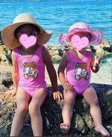 الأطفال قطعة واحدة المايوه طفلة بيكيني مجموعة الدب إلكتروني طباعة أكمام ملابس السباحة للفتيات ملابس السباحة ملابس الأطفال