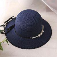 Wide Brim Hats Foldable Visor Summer Pearl Fisherman Hat Female Beach Sunscreen Cap Breathable Sun Bucket Straw