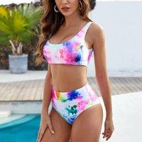 Women's Swimwear 2021 Print Bikini Set Women Gradient Tie-dye Biquinis High Waist Bathing Suit Summer Brazilian Biqiuni