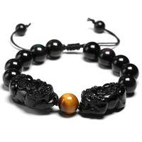 Piedra natural Black Obsidian Pulsera puede ajustable Doble Pixiu Pulseras Lucky Charms Mujeres y hombres con cuentas, hebras