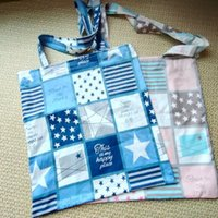 Party Gifts Eco-friendly Cotton Twill Shopping Tote Shoulder Bag Student Book Guest Gift Favor Print Check Star