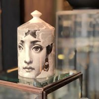 Candelabros de cerámica con velas hechas a mano Velas de incienso Jarra cara cara rojo labio nube taza sala de estar estudio adornos decoración del hogar artesanía