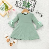 Baby Girls Ruffle Plain Rib Dress Fall 2021 Kids Boutique Clothing Korean 0-2T Children Infant Toddlers Long Sleeves Cotton Dresses