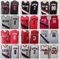 Мужчины Damian Lillard Джерси 0 CJ Mccollum 3 Carmelo Anthony 00 Баскетбольное издание Заработано Город Красный Черный Белый Серый Хорошее качество