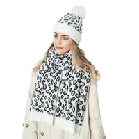 Hats, Scarves & Gloves Sets Women's Leopard Beanie Hat Scarf Set Soft Knitted Warm Casual Two-Pieces Warmer Outdoor Activity