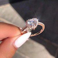 Mode Mariage Diamant CZ Cz Heart Forme Anneaux Trendy Exquis Love Faire Engagement Anneau Pour Femmes Vintage Bijoux Accessoires Cadeau