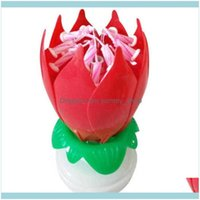 Décor Home & Garden Romantic Lotus Flower Rotating Happy Musical Candle Party Diy Cake Decoration Candles For Children Birthday Gift Drop De