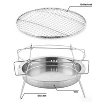 Tools & Accessories Portable Stainless Steel BBQ Grill Non-stick Barbecue Outdoor Camping Picnic Tool Round Carbon Stove