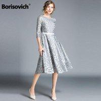 Borisovich Women Casual Dress Brand 2021 Autumn Fashion Hollow Out Lace Big Swing Elegant Ladies Evening Party Dresses M843