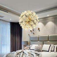 Diente de león dorado LED araña para salón comedor dormitorio Firefly techo lámpara colgante decoración interior aranceles arañas