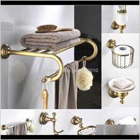 Accesorio baño casa jardín entrega entrega 2021 antigüedades de latón accesorios de baño conjunto estante toalla bar taza titulares secador de pelo rallador de tejido