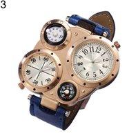 Kreatywny 4 tarcza cyfrowa bransoletka Zegarki Mężczyźni Chic Dual Ruch Kwarcowy Sport Watch Wodoodporny Termometr Outdoor Compass Clock W03