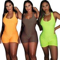 나이트 클럽 착용 여성 솔리드 jumpsuits 패션 여성 스퀘어 칼라 민소매 거래 짧은 짧은 rompers 2021 여름 여성