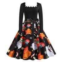Casual Dresses Christmas Black Big Swing Print Dress Women Elegant Long Sleeve Xmas Year Party Evening Prom Rockabilly Vestidos