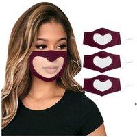 Dudak Dil Maskesi Leopar Görünür Sağır Dilsiz Yüz Maskesi Kalp Şeklinde Şeffaf Toz Geçirmez Asılı Kulak Döngü Yüz Kapak HWA5601