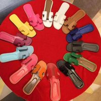 2021 Tasarımcı Lüks Sandalet Bayanlar Kadınlar Hakiki Deri H Terlik Düz Ayakkabı Oran Sandal Parti Düğün Ayakkabı
