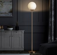 frosted glass ball floor lamp standing E27 plated brass metal simple nordic style for living room