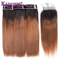 인간의 머리카락 벌크 Ombre 브라질 스트레이트 1B / 30 갈색 짜기 번들 클로저 3 + 1 Bunldes 레미 웨이프 익스텐션 10-26 인치