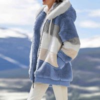 겨울 여성 자켓 따뜻한 봉제 캐주얼 느슨한 후드 코트 혼합 색상 패치 워크 아웃웨어 가짜 모피 지퍼 숙녀 파카