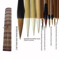 10 adet Çin Bambu Fırçalar Ile Kalem Perde Seti Yazma Fırça Aracı Kaligrafi Mürekkep Sanat Boyama Malzemeleri