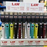 LAW Twist VV Battery 30pcs Display 900mah Bottom Spinner Vape Pen for 510 EGO Thick Oil Cartridges Tanks